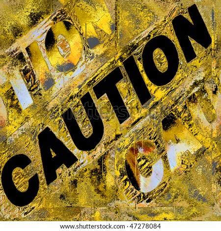 Caution Grunge Wall Seamless Artistic Abstract - stock photo
