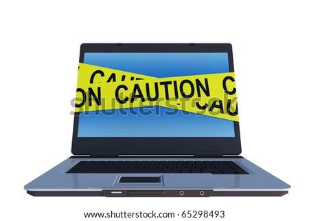 caution line around laptop computer screen - stock photo