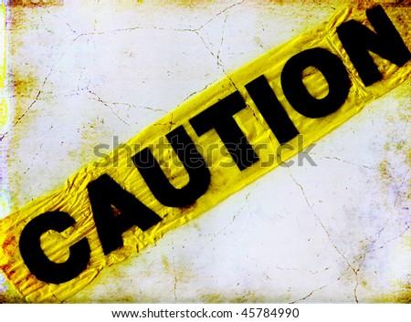 Caution On Grunge Wall - stock photo