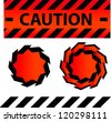 Caution or danger and police tape attention with lables stickers and design elements set - stock vector
