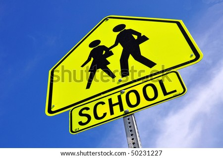 Caution School Crossing Sign - stock photo