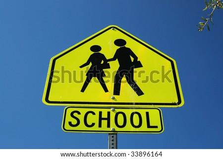 Caution School Sign - stock photo