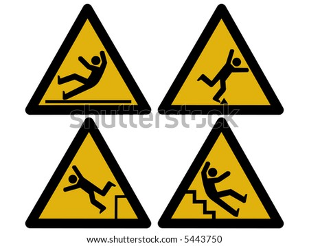 Caution signs figures falling tripping and slipping JPG - stock photo