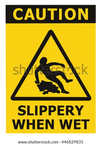Caution Slippery When Wet Text Sign, Black Yellow Isolated Floor Surface Area Danger Warning Triangle Safety Icon Signage, Large Detailed Sticker Label Macro Closeup  - stock photo