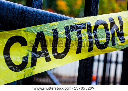 Caution tape. Safety concept - stock photo