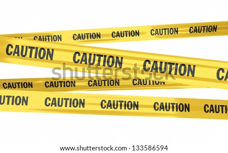 caution tape strips (isolated on white and clipping path)