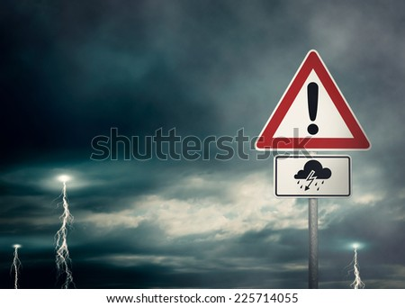 Caution - Thunderstorms Ahead - A dark cloudy sky with lightning bolts and a warning sign in the foreground - computer generated image - stock photo
