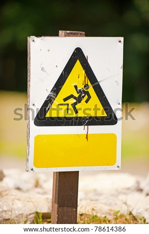 Caution triangle sign with blank space - stock photo