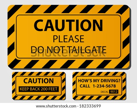 Caution Truck Signs. (EPS vector version also available in portfolio) - stock photo