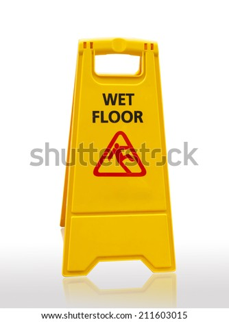 Caution wet floor sign isolated on white background with clipping path