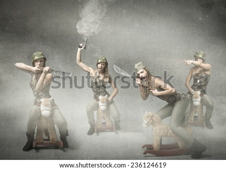 cavalry army in funny version - stock photo