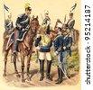 Cavalry Italy / vintage illustration from Meyers Konversations-Lexikon 1897 - stock photo