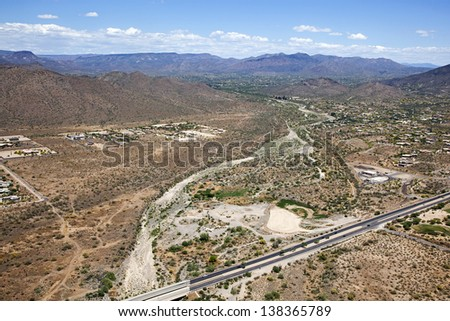Cave Creek Wash looking NE from the Carefree Highway - stock photo