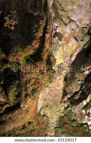 Cave in an old a medieval castle - Predjama Slovenia - stock photo
