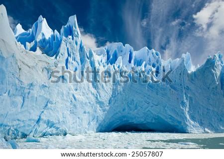 Cave in the ice, Perito Moreno glacier, Patagonia Argentina. - stock photo