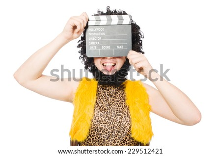 Cave man with movie board isolated on white - stock photo