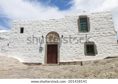 Cave of Apocalypse were Saint Ioannis the Evangelist wrote the Revelation. Patmos island, Greece - stock photo