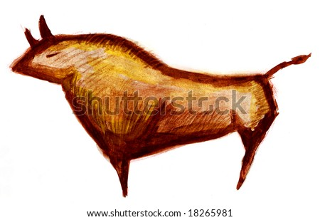 Cave painting sketch of a pre historic bull - stock photo