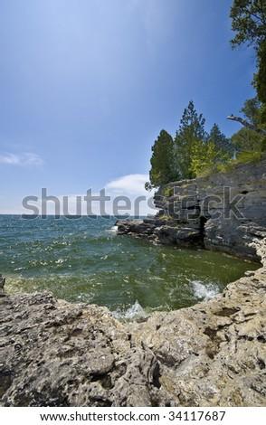 Cave Point Park, near Jacksonport in Door County Wisconsin - stock photo