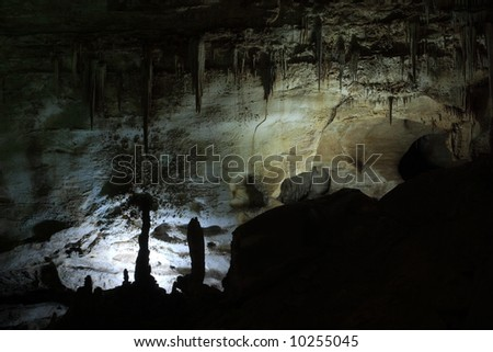 Cave scene along the Natural Entrance Tour - Carlsbad Caverns National Park - stock photo