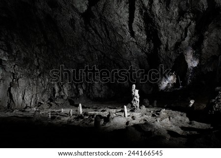 Cave stalactites and formations - stock photo