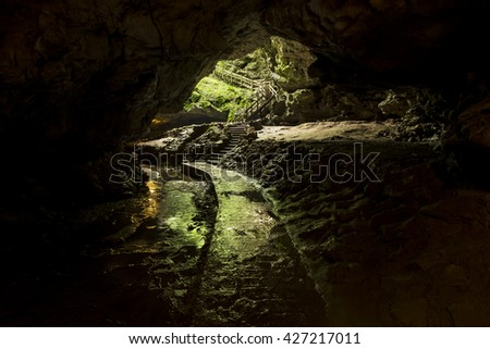 Cave Trail To Exit  - stock photo