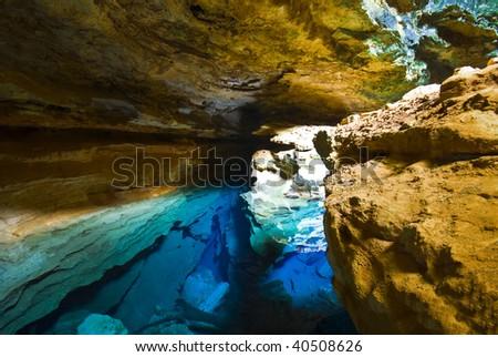 Cave with blue transparent water - Chapada Diamantina - Brazil - stock photo