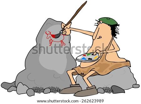 Caveman artist - stock photo