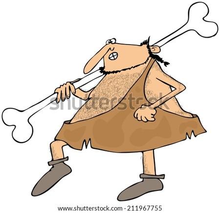 Caveman carrying a large bone - stock photo