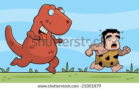 Caveman Chased - stock photo
