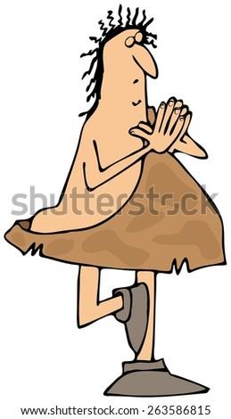 Caveman doing yoga - stock photo