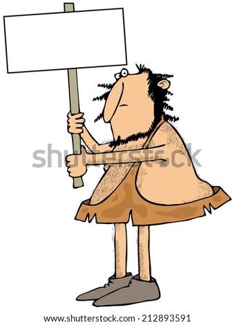 Caveman holding a sign - stock photo