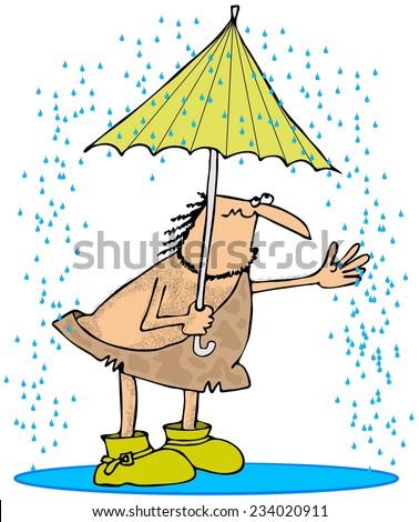 Caveman in the rain - stock photo