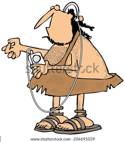 Caveman listening to his MP3 player - stock photo