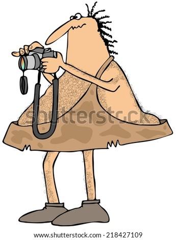 Caveman photographer - stock photo