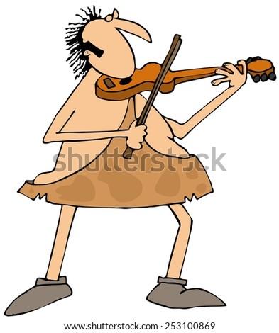 Caveman playing a violin - stock photo
