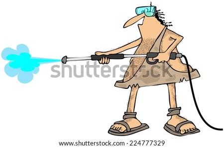 Caveman pressure wash - stock photo