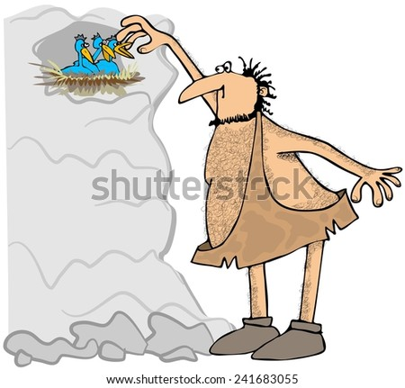 Caveman reaching in a birds nest - stock photo