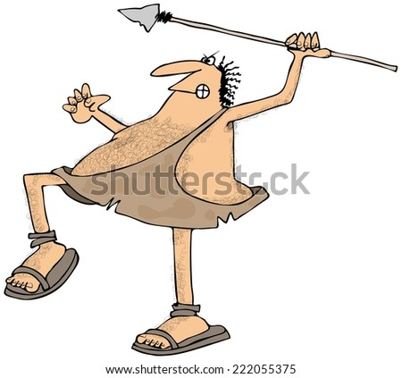 Caveman throwing a spear - stock photo