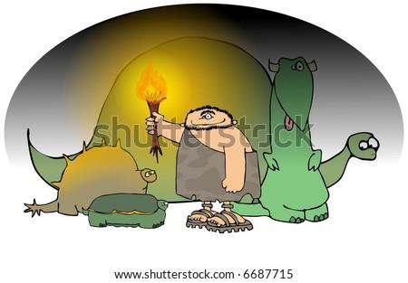 Caveman And Dinosaurs : Caveman torch dinosaurs stock illustration shutterstock