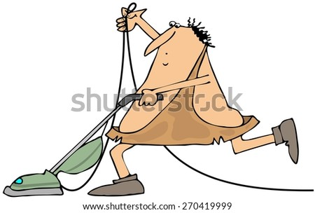 Caveman with a vacuum cleaner - stock photo