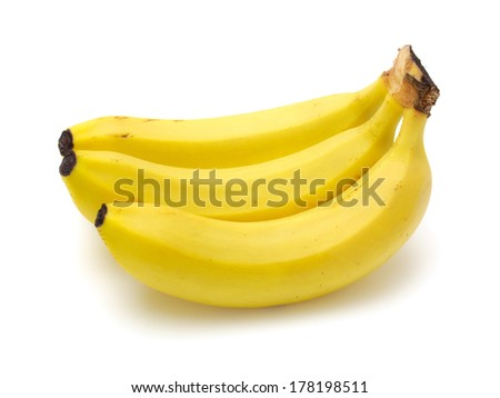 Cavendish bananas isolated on white background with clipping path. - stock photo
