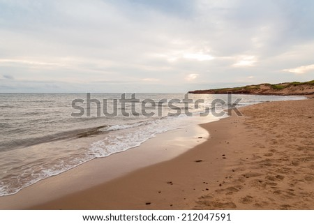Cavendish beach in the morning (Green Gables Shore, Prince Edward Island, Canada) - stock photo