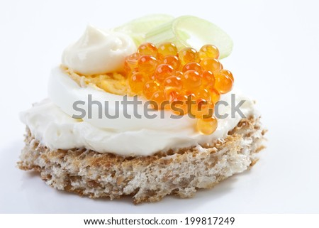 Caviar appetizer, elevated view - stock photo