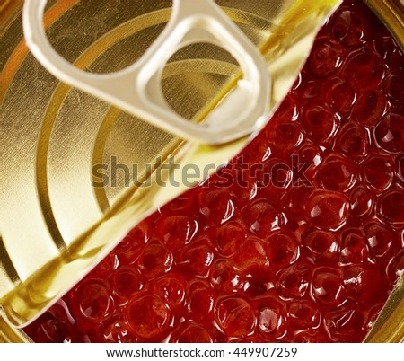 caviar in Tin can with ring pull background - stock photo