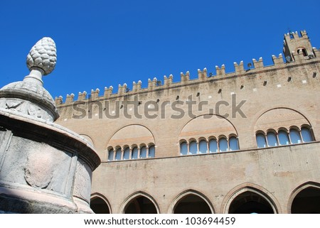 Cavour square, pinecone fountain and Ducal palace, Rimini, Italy - stock photo