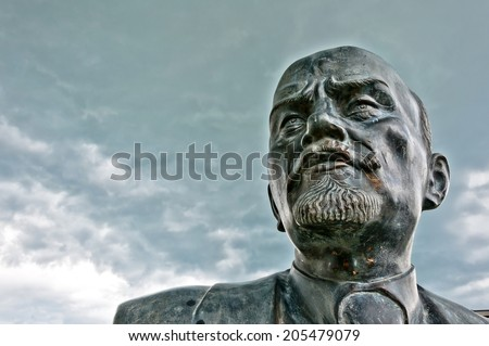 CAVRIAGO, ITALY - July 7, 2014: close up of one of the last Western Europe monument to Vladimir Lenin in Cavriago, Italy. The Soviet Union donated the statue to the Municipality of Cavriago in 1970