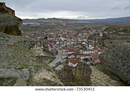 Cavusin city in Cappadocia, Turkey. - stock photo