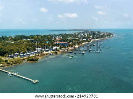 Caye Caulker is an island off the coast from the mainland in Belize.   - stock photo