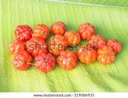 Cayenne cherry on banana leaves - stock photo